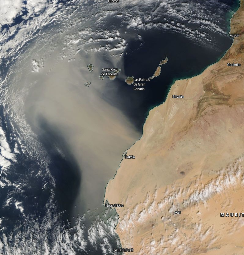 Thick Saharan Dust Blankets Canary Islands
