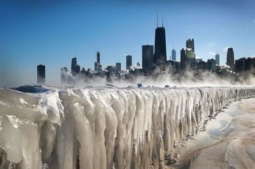 Lake Michigan has completely frozen over amid extremely dangerous temperatures