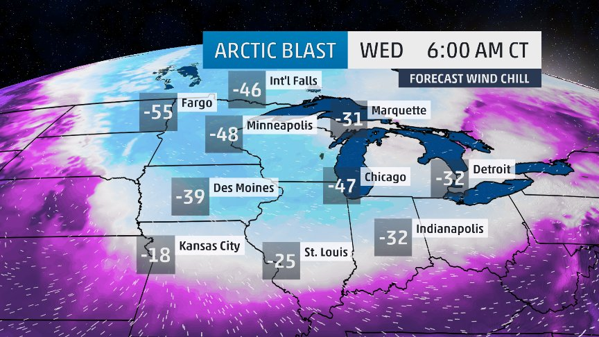 One of the coldest Arctic air intrusions in living memory descends upon the U.S.