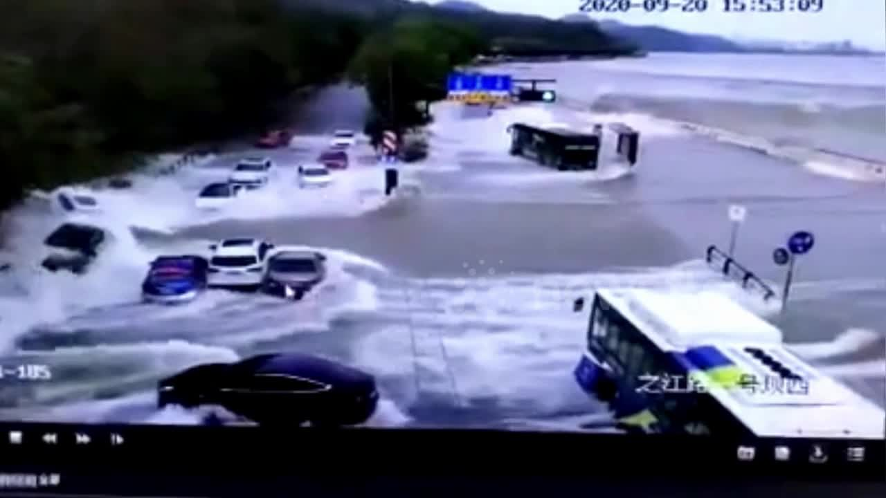 Gigantic Tidal Wave Sweeps Away Cars in Eastern China
