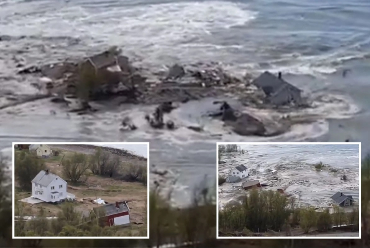 Massive landslide sweeps homes into the sea, Norway