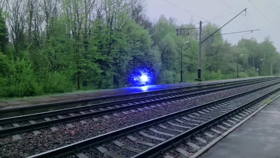 Wandering Ball of Light Appears Along Train Tracks
