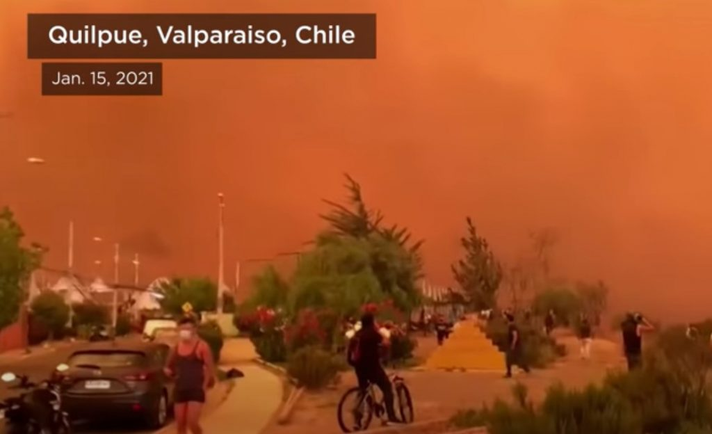 Violent fires across Chile creates apocalyptic sky